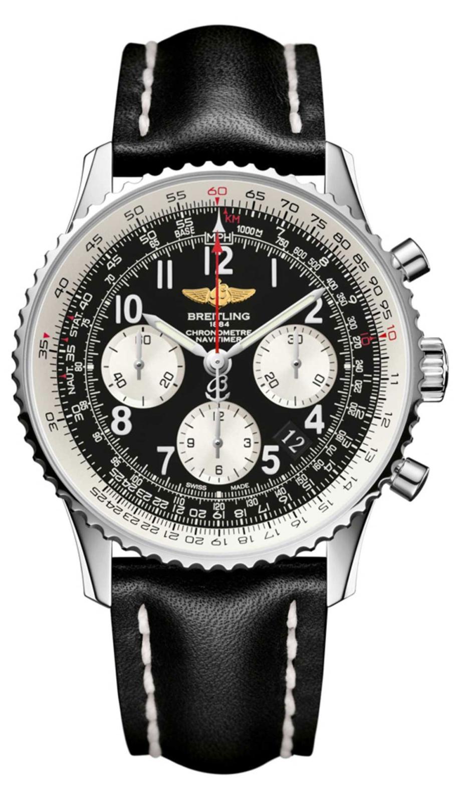 Breitling Navitimer AB012012/BB02/435XНаручные часы<br>Швейцарские часы Breitling Navitimer 01 AB012012/BB02/435XЭто больше, чем легенда: классические часы Navitimer, они стали первым наручным хронографом, побывавшим в космосе. Часы входят в коллекциюNavitimer 01, модель распознаётся сразу же благодаря вращающемуся в двух направлениях безелю с храповым механизмом, который даёт возможность легко воспользоваться знаменитой круглой логарифмической линейкой для авиаторов. Материал корпуса - нержавеющая сталь 316L. Механизм - Breitling B01 - первый мануфактурный (собственного производства) механизм компании Breitling, 28800 полуколебаний/час, 47 камней, сертифицированный хронометр C.O.S.C., быстрая корректировка даты, запас хода до 70 часов. Сапфировое стекло с двойным антибликовым покрытием. Водозащита - 30 м. Ремень - кожа теленка. Диаметр корпуса 43 мм.<br><br>Для кого?: Мужские<br>Страна-производитель: Швейцария<br>Механизм: Механический<br>Материал корпуса: Сталь<br>Материал ремня/браслета: Кожа<br>Водозащита, диапазон: 20 - 100 м<br>Стекло: Сапфировое<br>Толщина корпуса: 14,25 мм<br>Стиль: Классика