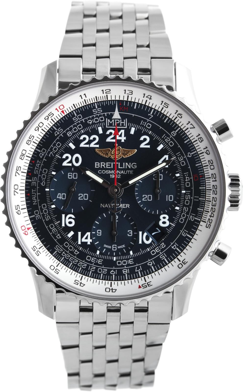 Breitling Navitimer  AB0210B4/C917/447AНаручные часы<br>Швейцарские часы Breitling Navitimer Cosmonaute AB0210B4/C917/447A24 мая 1962 года Скотт Карпентер в корабле «Аврора 7» сделал три витка вокруг Земли. На запястье у него были часы Navitimer с 24-часовым циферблатом – жизненная необходимость, когда вам требуется отличать день от ночи. Так они стали первым наручным хронографом, побывавшим в космосе. Часы входят в коллекциюNavitimer Cosmonaute - единственные в своем роде, модель распознаётся сразу же благодаря вращающемуся в двух направлениях безелю с храповым механизмом, который даёт возможность легко воспользоваться знаменитой круглой логарифмической линейкой для авиаторов. Механизм - Breitling B02 - второй из семейства мануфактурных (собственного производства) механизмов компании Breitling, ручной подзавод и 24-часовая индикация времени – два знака уважения к оригинальному хронографу 1962 года, 28800 полуколебаний/час, 39 камней, сертифицированный хронометр C.O.S.C., быстрая корректировка даты, запас хода до 70 часов. Сапфировое стекло с двойным антибликовым покрытием. Водозащита - 30 м. Браслет - сталь. Диаметр корпуса 43 мм.<br><br>Для кого?: Мужские<br>Страна-производитель: Швейцария<br>Механизм: Механический<br>Материал корпуса: Сталь<br>Материал ремня/браслета: Сталь<br>Водозащита, диапазон: 20 - 100 м<br>Стекло: Сапфировое<br>Толщина корпуса: 13,85 мм<br>Стиль: Классика