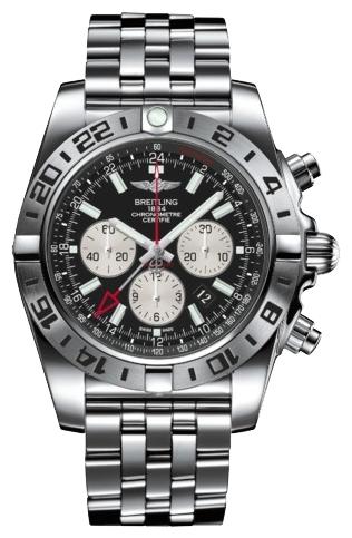 Breitling Chronomat AB0413B9/BD17/383AНаручные часы<br>Швейцарские часы Breitling Chronomat GMT AB0413B9/BD17/383ACерия часов Chronomat GMT – хронограф для путешественников – создана в 1984 году для авиаторов мирового масштаба. Это универсальные классические часы на каждый день.Цвет циферблата - черный. Материал корпуса часов — нержавеющая сталь 316L. Безель - вращающийся в обе стороны с 24-х часовой разметкой, завинчивающаяся заводная коронка, пушеры (кнопки) хронографа с ограничителями на резьбе. Механизм - Breitling B04 - четвертый из семейства мануфактурных (собственного производства) механизмов компании Breitling, индикация второго часового пояса дополнительной часовой стрелкой (GMT -Greenwich Mean Time), 28800 полуколебаний/час, 47 камней, сертифицированный хронометр C.O.S.C., быстрая корректировка даты, запас хода до 70 часов. Сапфировое стекло с двойным антибликовым покрытием. Водозащита - 500 м. Браслет - сталь. Диаметр корпуса 47 мм.<br><br>Для кого?: Мужские<br>Страна-производитель: Швейцария<br>Механизм: Механический<br>Материал корпуса: Сталь<br>Материал ремня/браслета: Сталь<br>Водозащита, диапазон: 200 - 800 м<br>Стекло: Сапфировое<br>Толщина корпуса: 18,35 мм<br>Стиль: Классика