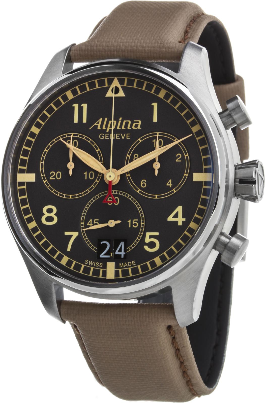Alpina AL-372BGR4S6Наручные часы<br>Швейцарские часыAlpinaStartimer Pilot Big Date Camouflage GreyAL-372BGR4S6<br><br>Пол: Мужские<br>Страна-производитель: Швейцария<br>Механизм: Кварцевый<br>Материал корпуса: Сталь<br>Материал ремня/браслета: Текстиль<br>Водозащита, диапазон: 20 - 100 м<br>Стекло: Сапфировое<br>Толщина корпуса: None<br>Стиль: Классика