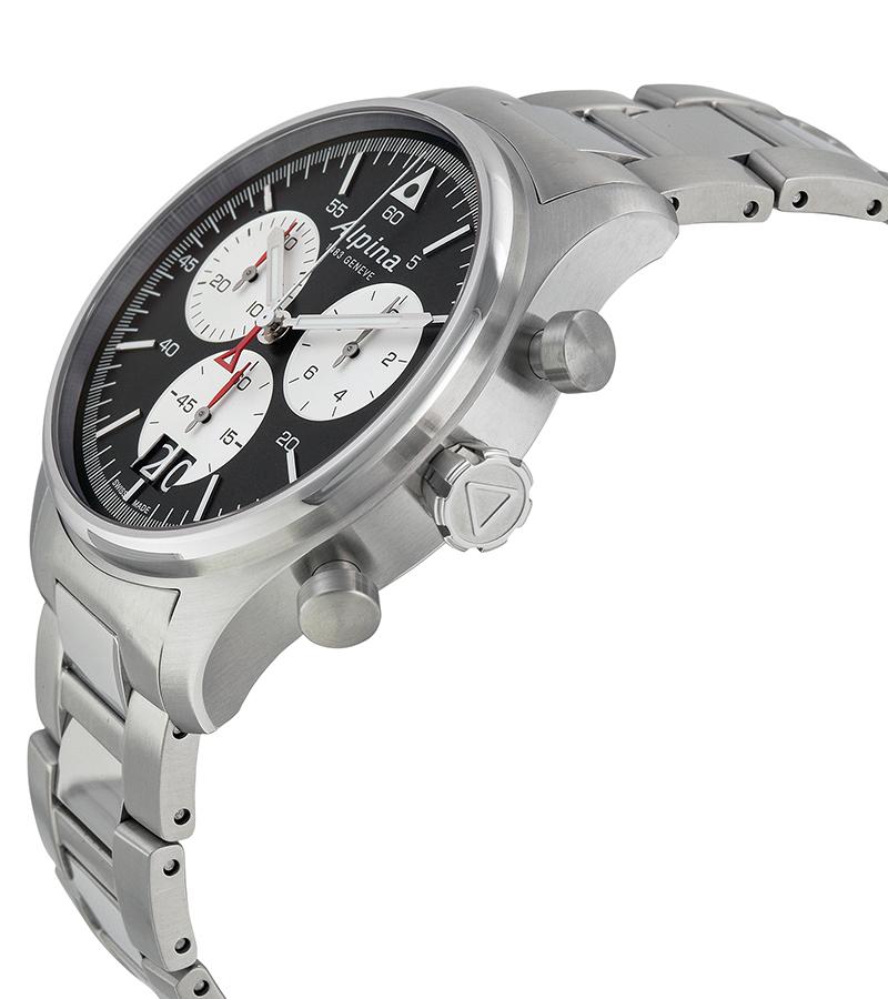 Alpina Startimer AL-372BS4S6BНаручные часы<br>Швейцарские часы Alpina Startimer AL-372BS4S6B<br><br>Пол: Мужские<br>Страна-производитель: Швейцария<br>Механизм: Кварцевый<br>Материал корпуса: Сталь<br>Материал ремня/браслета: Сталь<br>Водозащита, диапазон: None<br>Стекло: Сапфировое<br>Толщина корпуса: 13 мм<br>Стиль: None