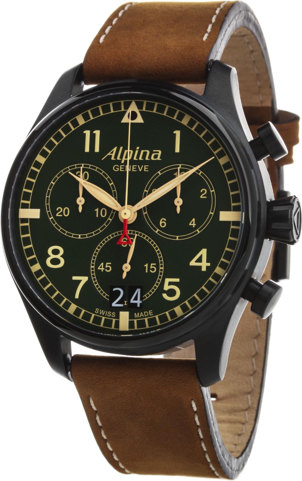 Alpina Startimer AL-372GR4FBS6Наручные часы<br>Швейцарские часы Alpina Startimer AL-372GR4FBS6<br><br>Для кого?: Мужские<br>Страна-производитель: Швейцария<br>Механизм: Кварцевый<br>Материал корпуса: Сталь<br>Материал ремня/браслета: Кожа<br>Водозащита, диапазон: None<br>Стекло: Сапфировое<br>Толщина корпуса: 13 мм<br>Стиль: None