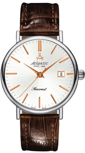 Atlantic Seacrest 10351.41.21RНаручные часы<br>Швейцарские часы Atlantic Seacrest 10351.41.21R<br><br>Для кого?: Женские<br>Страна-производитель: Швейцария<br>Механизм: Кварцевый<br>Материал корпуса: Сталь<br>Материал ремня/браслета: Кожа<br>Водозащита, диапазон: 20 - 100 м<br>Стекло: Сапфировое<br>Толщина корпуса: 7 мм<br>Стиль: Классика