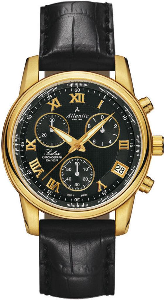 Atlantic Seabase  64450.45.68Наручные часы<br>Швейцарские часы Atlantic Seabase 64450.45.68<br><br>Для кого?: Мужские<br>Страна-производитель: Швейцария<br>Механизм: Кварцевый<br>Материал корпуса: Сталь<br>Материал ремня/браслета: Кожа<br>Водозащита, диапазон: 20 - 100 м<br>Стекло: Сапфировое<br>Толщина корпуса: None<br>Стиль: Классика