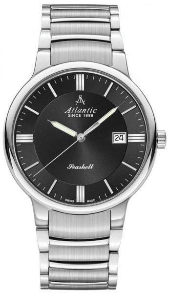 Atlantic Seashell 66355.41.61Наручные часы<br>Швейцарские часы Atlantic Seashell 66355.41.61<br><br>Для кого?: Мужские<br>Страна-производитель: Швейцария<br>Механизм: Кварцевый<br>Материал корпуса: Сталь<br>Материал ремня/браслета: Сталь<br>Водозащита, диапазон: 20 - 100 м<br>Стекло: Сапфировое<br>Толщина корпуса/: <br>Стиль: Классика