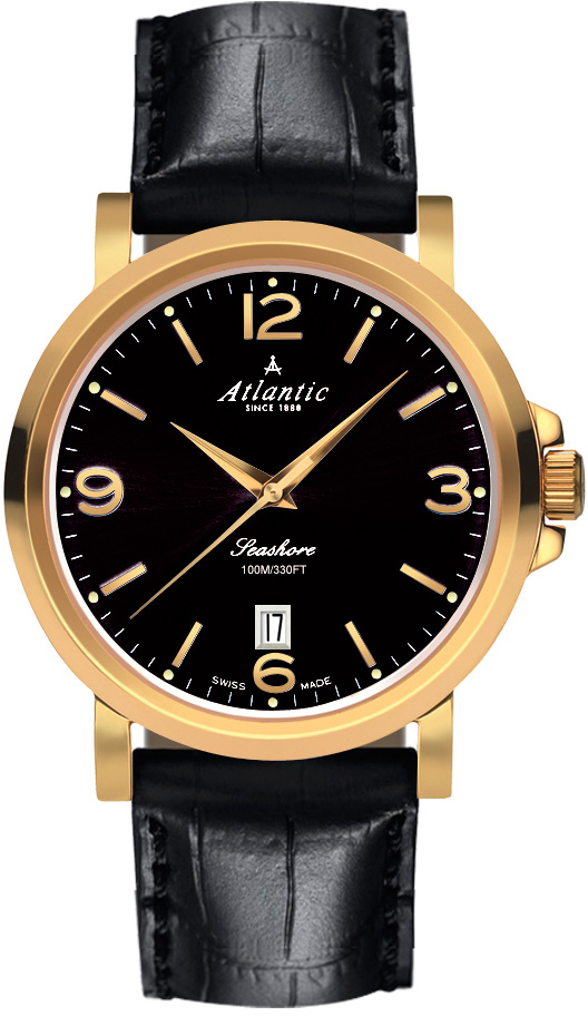 Atlantic Seashore 72360.45.65Наручные часы<br>Швейцарские часы Atlantic Seashore 72360.45.65Модель входит в коллекцию Seashore. Это мужские часы. Материал корпуса часов — сталь+золото. Стекло - сапфировое. Водозащита этой модели 100 м. Цвет циферблата - черный. Циферблат часов содержит часы, минуты, секунды. В данной модели используются следующие усложнения: дата, . Диаметр корпуса 41мм.<br><br>Для кого?: Мужские<br>Страна-производитель: None<br>Механизм: Кварцевый<br>Материал корпуса: Сталь+золото<br>Материал ремня/браслета: Кожа<br>Водозащита, диапазон: None<br>Стекло: Сапфировое<br>Толщина корпуса: 10<br>Стиль: Классика