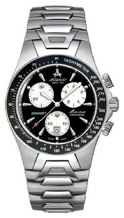 Atlantic Mariner 80476.41.62Наручные часы<br>Швейцарские часы Atlantic Mariner 80476.41.62Представленная модель входит в коллекцию Mariner. Это мужские часы. Материал корпуса часов — сталь. Стекло - сапфировое. Водозащита этих часов 200 м. Основной цвет циферблата черный. Из основных функций на циферблате представлены: часы, минуты, секунды. В данной модели используются следующие усложнения: дата, хронограф. Диаметр корпуса часов составляет 41мм.<br><br>Для кого?: Мужские<br>Страна-производитель: None<br>Механизм: Кварцевый<br>Материал корпуса: Сталь<br>Материал ремня/браслета: Сталь<br>Водозащита, диапазон: None<br>Стекло: Сапфировое<br>Толщина корпуса: 10<br>Стиль: Спорт