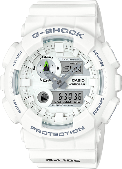 Casio G-shock G-Lide GAX-100A-7AНаручные часы<br>Японские часы Casio G-shock G-Lide GAX-100A-7A<br><br>Пол: Мужские<br>Страна-производитель: Япония<br>Механизм: Кварцевый<br>Материал корпуса: Пластик<br>Материал ремня/браслета: Каучук<br>Водозащита, диапазон: None<br>Стекло: Минеральное<br>Толщина корпуса: 16,9 мм<br>Стиль: None