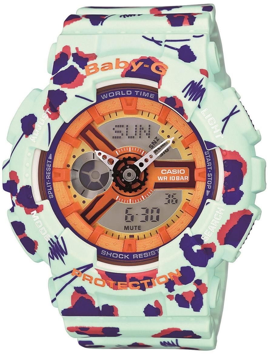 Casio Baby-G BA-110FL-3AНаручные часы<br>Японские часы Casio Baby-G BA-110FL-3A<br><br>Пол: Женские<br>Страна-производитель: Япония<br>Механизм: Кварцевый<br>Материал корпуса: Пластик<br>Материал ремня/браслета: Каучук<br>Водозащита, диапазон: None<br>Стекло: Минеральное<br>Толщина корпуса: 15,8 мм<br>Стиль: None