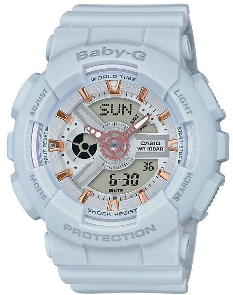 Casio Baby-G BA-110GA-8AНаручные часы<br>Японские часы Casio Baby-G BA-110GA-8A<br><br>Пол: Женские<br>Страна-производитель: Япония<br>Механизм: Кварцевый<br>Материал корпуса: Пластик<br>Материал ремня/браслета: Каучук<br>Водозащита, диапазон: None<br>Стекло: Минеральное<br>Толщина корпуса: 15,8 мм<br>Стиль: None
