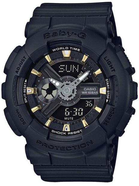 Casio Baby-G BA-110GA-1AНаручные часы<br>Японские часы Casio Baby-G BA-110GA-1A<br><br>Пол: Женские<br>Страна-производитель: Япония<br>Механизм: Кварцевый<br>Материал корпуса: Пластик<br>Материал ремня/браслета: Каучук<br>Водозащита, диапазон: None<br>Стекло: Минеральное<br>Толщина корпуса: 15,8 мм<br>Стиль: None