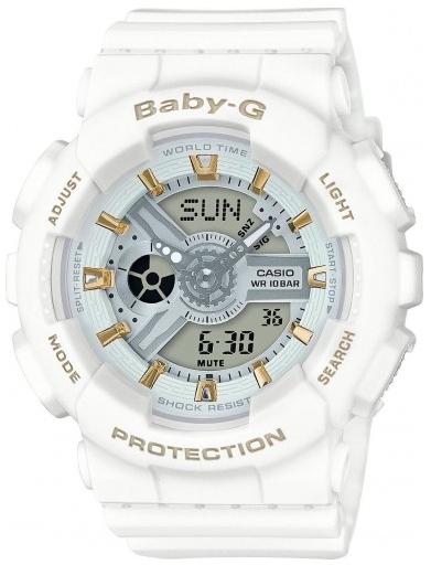 Casio Baby-G BA-110GA-7A1Наручные часы<br>Японские часы Casio Baby-G BA-110GA-7A1<br><br>Пол: Женские<br>Страна-производитель: Япония<br>Механизм: Кварцевый<br>Материал корпуса: Пластик<br>Материал ремня/браслета: Каучук<br>Водозащита, диапазон: None<br>Стекло: Минеральное<br>Толщина корпуса: 15,8 мм<br>Стиль: None
