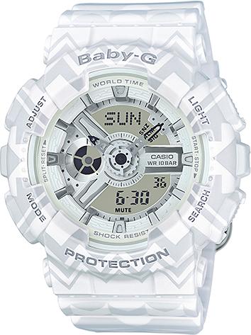 Casio Baby-G BA-110TP-7AНаручные часы<br>Японские часы Casio Baby-G BA-110TP-7A<br><br>Пол: Женские<br>Страна-производитель: Япония<br>Механизм: Кварцевый<br>Материал корпуса: Пластик<br>Материал ремня/браслета: Каучук<br>Водозащита, диапазон: None<br>Стекло: Минеральное<br>Толщина корпуса: 15,8 мм<br>Стиль: None