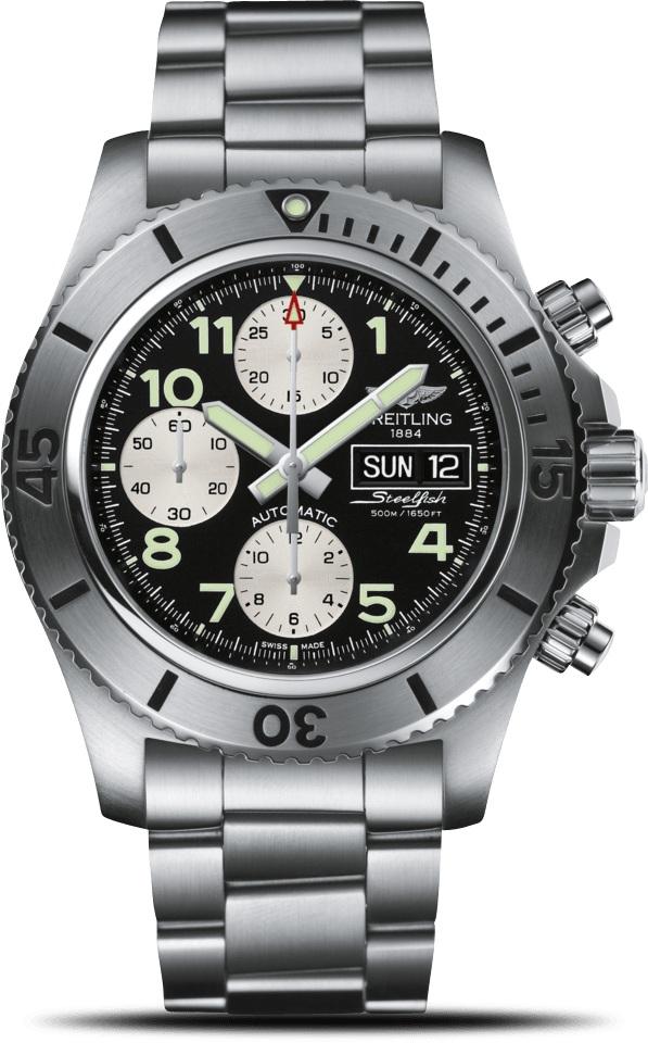 Breitling Superocean A13341C3/BD19/162AНаручные часы<br>Швейцарские часы Breitling Superocean Chronograph SteelfishA13341C3/BD19/162AОтправляйтесь на покорение океанских глубин с особой серией часов Superocean Chronograph Steelfish, сочетающей легендарные характеристики дайверских часов от компании Breitling с решительным спортивным и техничным внешним видом. Этот оригинальный инструмент для моря водонепроницаем на глубине до 500метров, он отличается широким вращающимся, оснащенным храповым механизмом безелем с черными прорезиненными цифрами и маркерами, своим увеличенным двойным окошком для дня недели и даты, а также полуматовым и полированным корпусом.Материал корпуса часов — нержавеющая сталь 316L. Механизм - Breitling 13 - механический хронограф с модулем автоподзавода, 28800 полуколебаний/час, 25 камней, сертифицированный хронометр C.O.S.C., запас хода мин. 42 часа. Сапфировое стекло с двойным антибликовым покрытием.Браслет - сталь. Диаметр корпуса - 44 мм.<br><br>Для кого?: Мужские<br>Страна-производитель: Швейцария<br>Механизм: Механический<br>Материал корпуса: Сталь<br>Материал ремня/браслета: Сталь<br>Водозащита, диапазон: 200 - 800 м<br>Стекло: Сапфировое<br>Толщина корпуса: 17,20 мм<br>Стиль: Классика