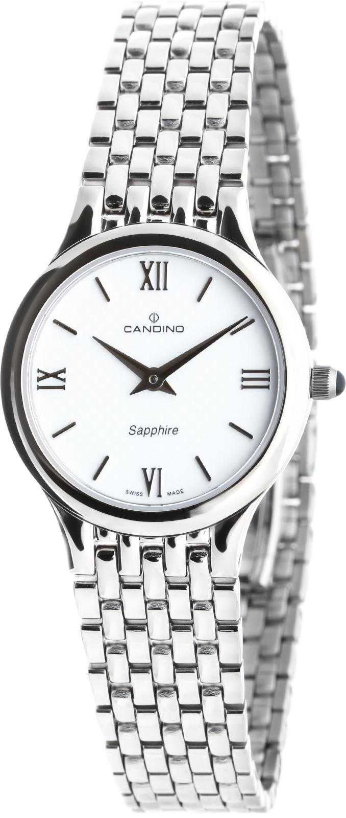 Candino Classic C4364/2Наручные часы<br>Швейцарские часы Candino Classic C4364/2Часы входят в модельный ряд коллекции Classic. Это модные женские часы. Материал корпуса часов &amp;mdash; сталь. В этой модели стоит сапфировое стекло. Водозащита этой модели 30 м. Цвет циферблата - белый. Циферблат модели содержит часы, минуты. Диаметр корпуса часов составляет 27мм.<br><br>Пол: Женские<br>Страна-производитель: Швейцария<br>Механизм: Кварцевый<br>Материал корпуса: Сталь<br>Материал ремня/браслета: Сталь<br>Водозащита, диапазон: 20 - 100 м<br>Стекло: Сапфировое<br>Толщина корпуса: None<br>Стиль: Классика