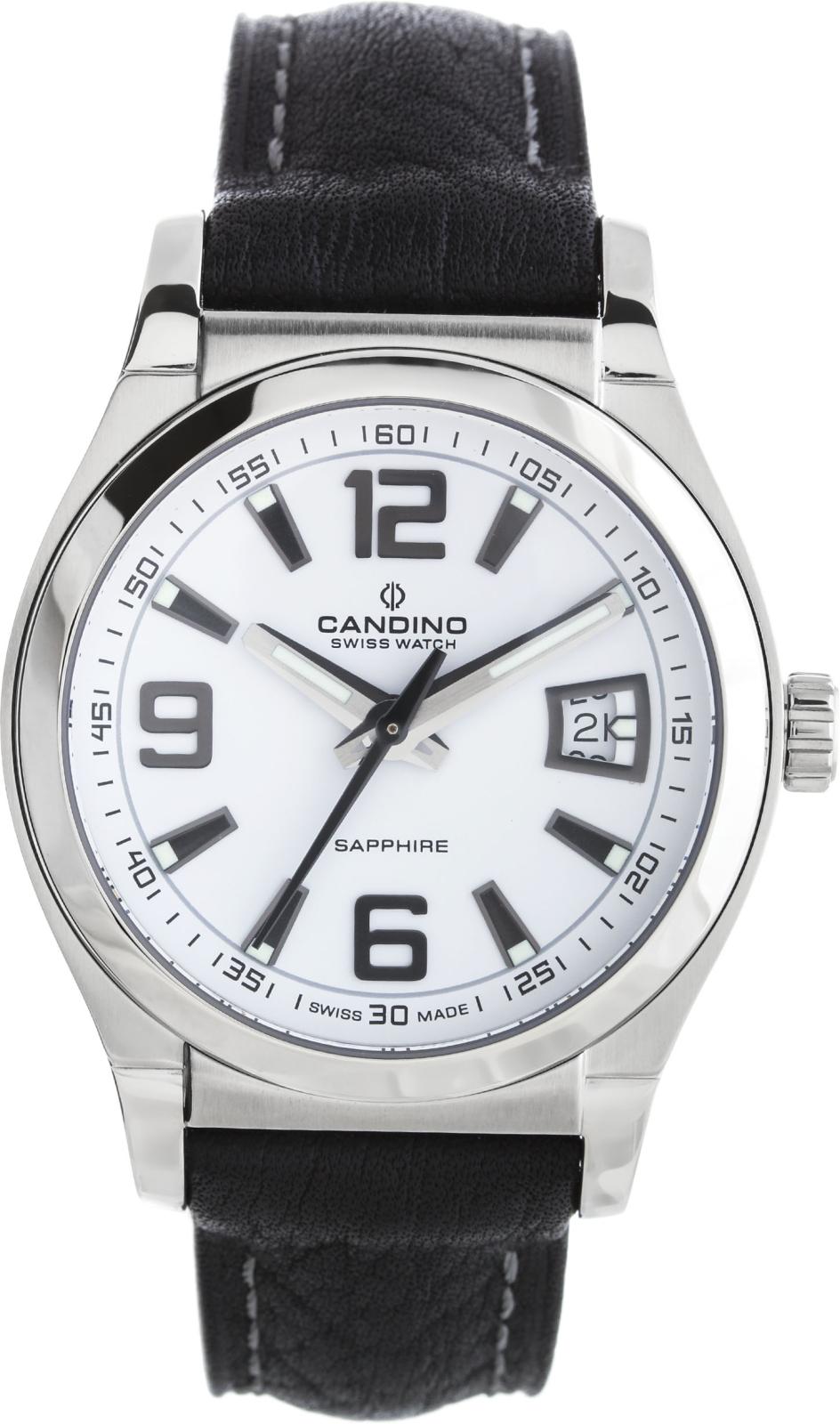 Candino Casual C4439/7Наручные часы<br>Швейцарские часы Candino Casual C4439/7<br><br>Пол: Мужские<br>Страна-производитель: Швейцария<br>Механизм: Кварцевый<br>Материал корпуса: Сталь<br>Материал ремня/браслета: Кожа<br>Водозащита, диапазон: 100 - 150 м<br>Стекло: Сапфировое<br>Толщина корпуса: None<br>Стиль: Классика