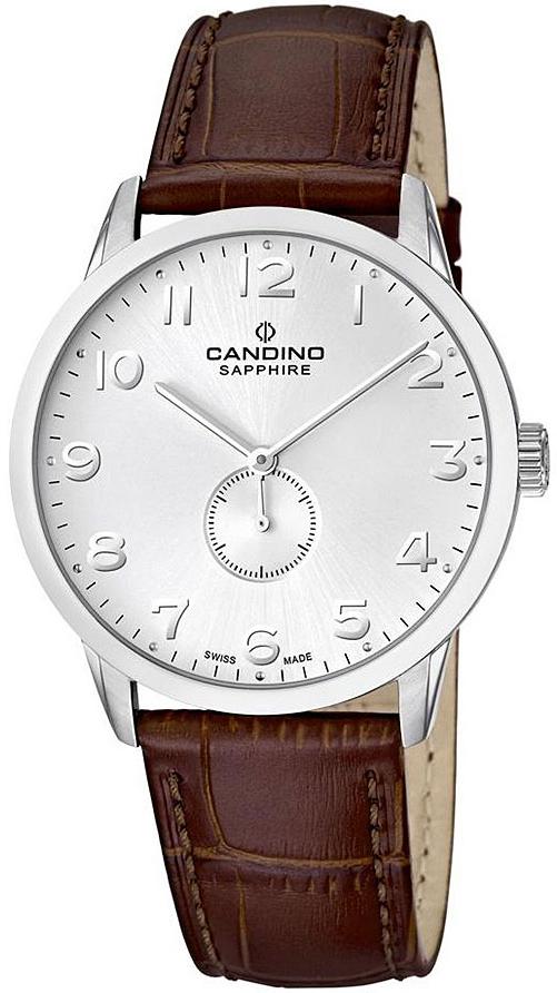 Candino Classic C4470/3Наручные часы<br>Швейцарские часы Candino Classic C4470/3<br><br>Для кого?: Мужские<br>Страна-производитель: Швейцария<br>Механизм: Кварцевый<br>Материал корпуса: Сталь<br>Материал ремня/браслета: Кожа<br>Водозащита, диапазон: 20 - 100 м<br>Стекло: Сапфировое<br>Толщина корпуса: None<br>Стиль: Классика