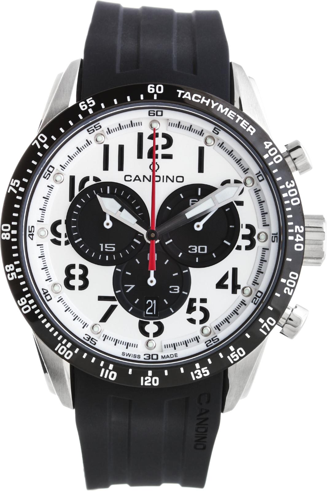 Candino Sport C4472/1Наручные часы<br>Швейцарские часы Candino Sport C4472/1<br><br>Пол: Мужские<br>Страна-производитель: Швейцария<br>Механизм: Кварцевый<br>Материал корпуса: Сталь<br>Материал ремня/браслета: Каучук<br>Водозащита, диапазон: 100 - 150 м<br>Стекло: Сапфировое<br>Толщина корпуса: 9 мм<br>Стиль: Спорт