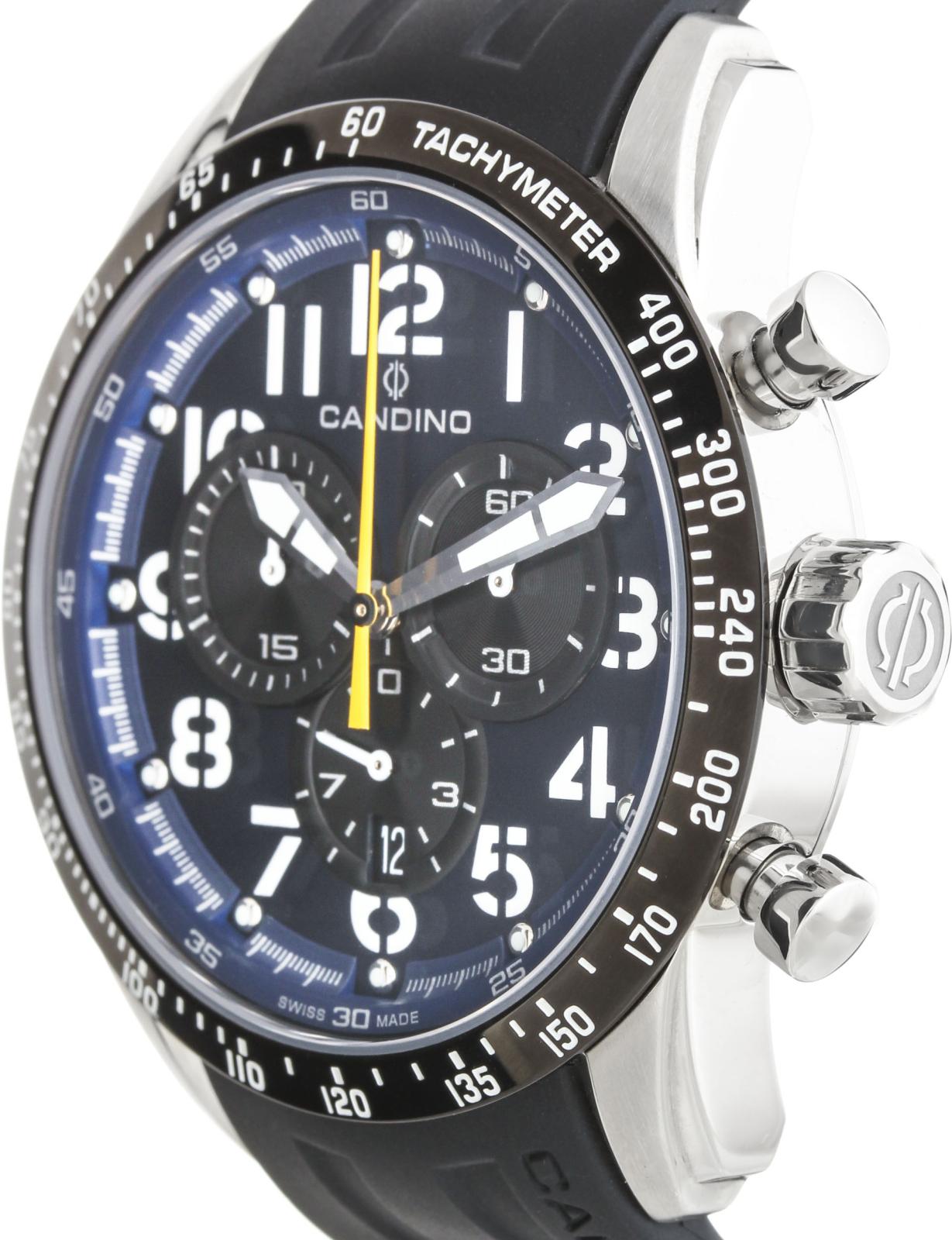 Candino Сhronograph C4472/3Наручные часы<br>Швейцарские часы Candino Сhronograph C4472/3Модель входит в коллекцию Сhronograph. Это стильные мужские часы. Материал корпуса часов &amp;mdash; сталь. В этой модели стоит сапфировое стекло. Водозащита этих часов 100 м.<br><br>Пол: Мужские<br>Страна-производитель: Швейцария<br>Механизм: Кварцевый<br>Материал корпуса: Сталь<br>Материал ремня/браслета: Каучук<br>Водозащита, диапазон: 100 - 150 м<br>Стекло: Сапфировое<br>Толщина корпуса: None<br>Стиль: None