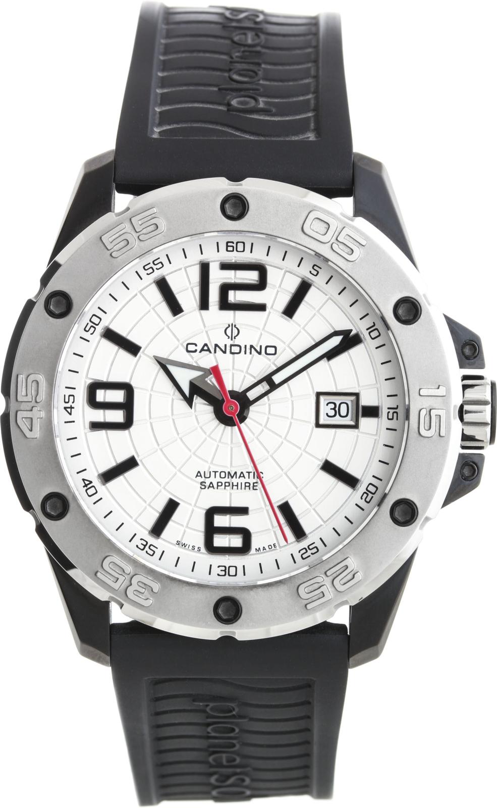 Candino Planet Solar  C4474/1Наручные часы<br>Швейцарские часы Candino Planet Solar C4474/1Часы принадежат коллекции Planet Solar . Это модные мужские часы. Материал корпуса часов — сталь. В этих часах используется сапфировое стекло. Часы выдерживают давление на глубине 200 м.<br><br>Пол: Мужские<br>Страна-производитель: Швейцария<br>Механизм: Механический<br>Материал корпуса: Сталь<br>Материал ремня/браслета: Каучук<br>Водозащита, диапазон: 200 - 800 м<br>Стекло: Сапфировое<br>Толщина корпуса: None<br>Стиль: None