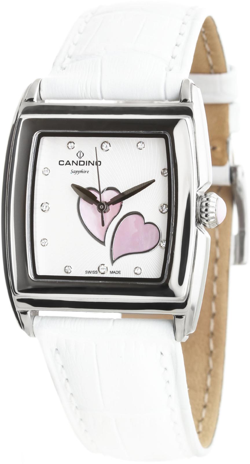 Candino Elegance  C4475/2Наручные часы<br>Швейцарские часы Candino Elegance C4475/2Данная модель &amp;mdash; яркий представитель коллекции Elegance . Это великолепные женские часы. Материал корпуса часов &amp;mdash; сталь. Циферблат часов защищает сапфировое стекло. Водозащита - 50 м.<br><br>Пол: Женские<br>Страна-производитель: Швейцария<br>Механизм: Кварцевый<br>Материал корпуса: Сталь<br>Материал ремня/браслета: Кожа<br>Водозащита, диапазон: 20 - 100 м<br>Стекло: Сапфировое<br>Толщина корпуса: None<br>Стиль: None
