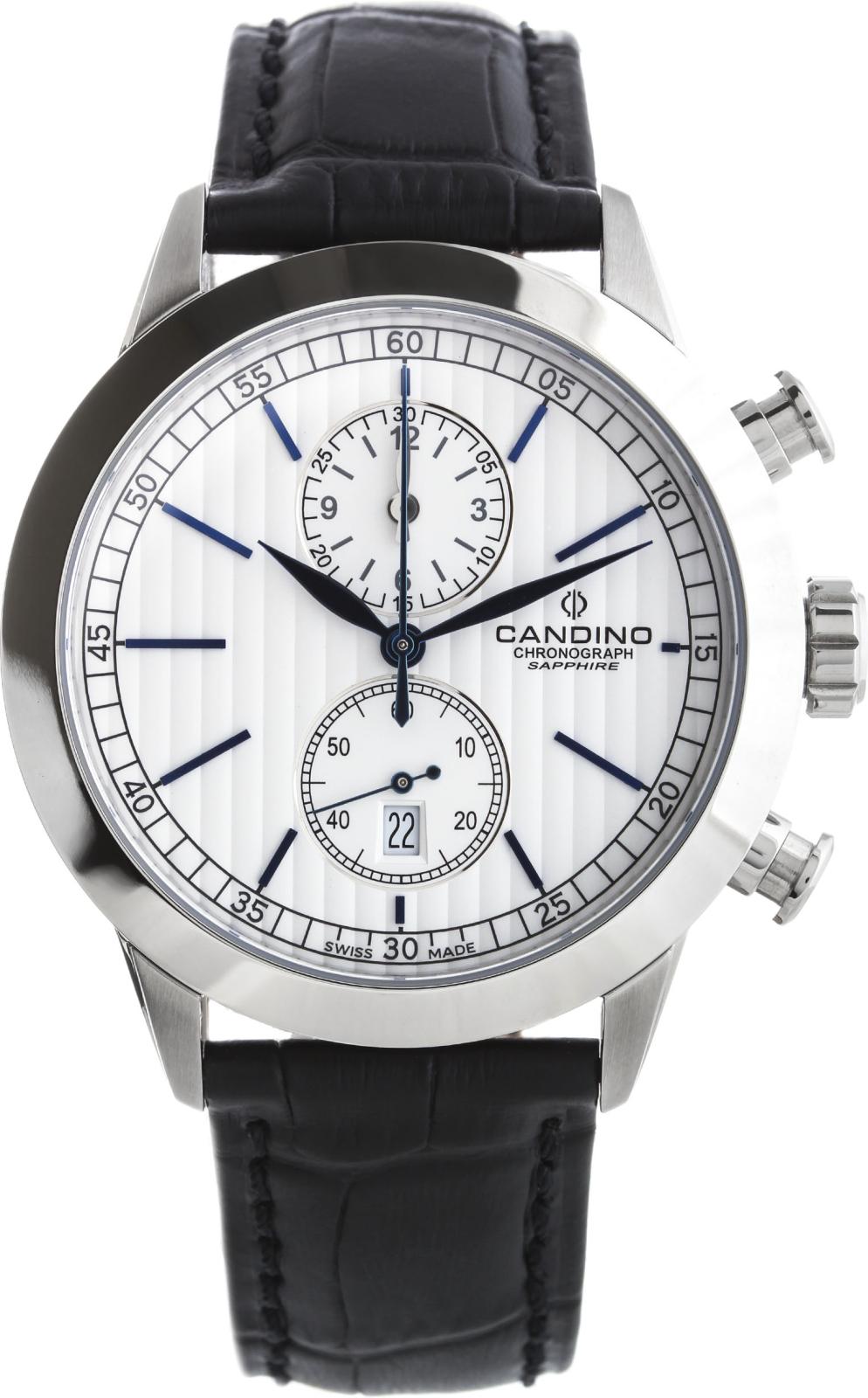 Candino Sport C4505/2Наручные часы<br>Швейцарские часы Candino Sport C4505/2<br><br>Пол: Мужские<br>Страна-производитель: Швейцария<br>Механизм: Кварцевый<br>Материал корпуса: Сталь<br>Материал ремня/браслета: Кожа<br>Водозащита, диапазон: 100 - 150 м<br>Стекло: Сапфировое<br>Толщина корпуса: 10 мм<br>Стиль: Классика
