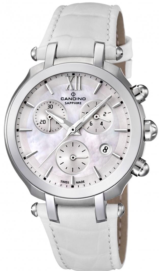 Candino Sport athletic chic C4521/1Наручные часы<br>Швейцарские часы Candino Sport athletic chic C4521/1Часы принадежат коллекции Sport athletic chic. Это стильные женские часы. Материал корпуса часов — сталь. Стекло - сапфировое. Водозащита этой модели 100 м. Основной цвет циферблата белый. Циферблат часов содержит часы, минуты, секунды. В этой модели используются такие усложнения как дата, хронограф. Часы обладают корпусом 36мм.<br><br>Пол: Женские<br>Страна-производитель: Швейцария<br>Механизм: Кварцевый<br>Материал корпуса: Сталь<br>Материал ремня/браслета: Кожа<br>Водозащита, диапазон: 100 - 150 м<br>Стекло: Сапфировое<br>Толщина корпуса: None<br>Стиль: Спорт