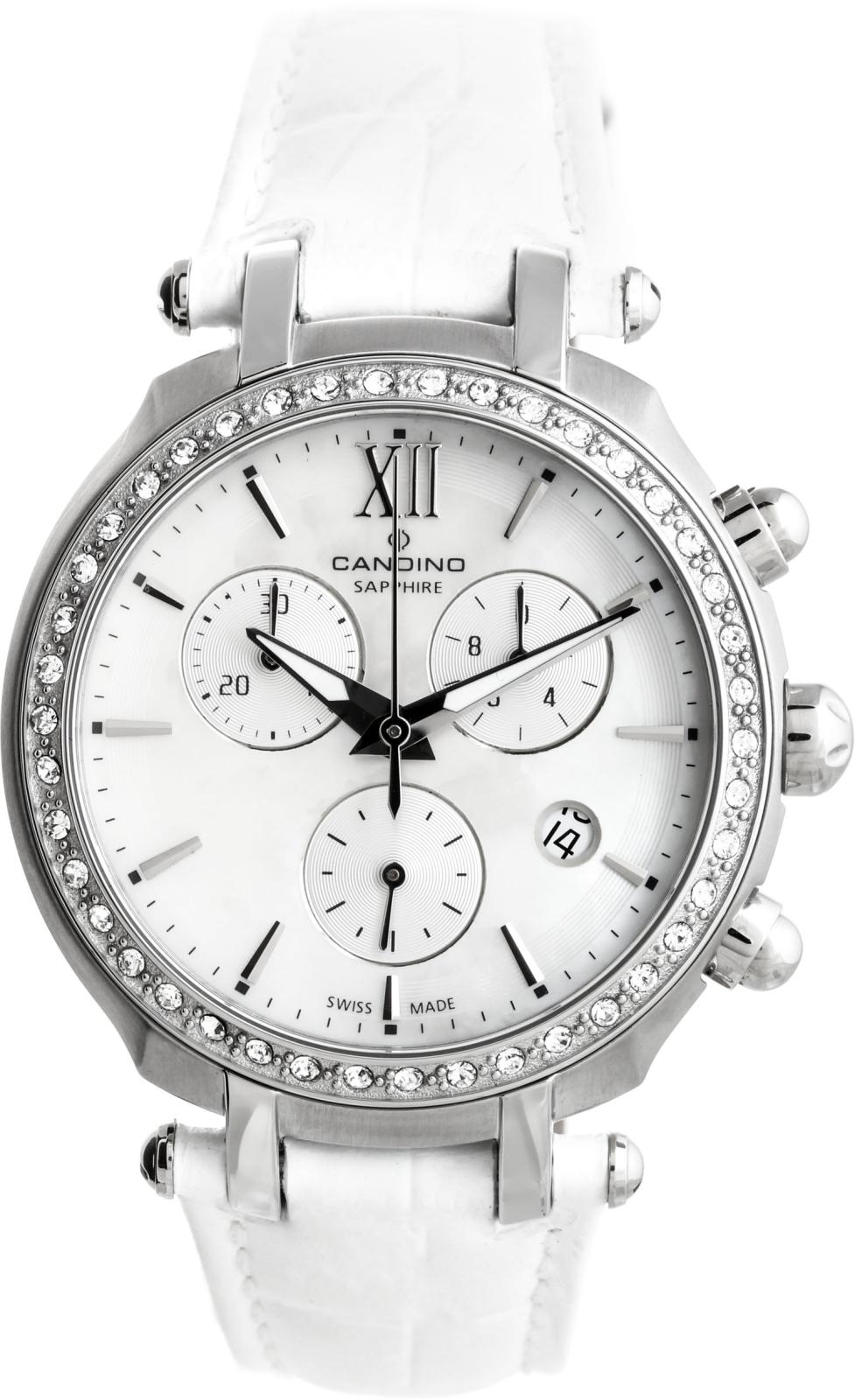 Candino Sport athletic chic C4522/1Наручные часы<br>Швейцарские часы Candino Sport athletic chic C4522/1Данная модель входит в коллекцию Sport athletic chic. Это женские часы. Материал корпуса часов — сталь. Стекло - сапфировое. Часы этой модели обладают водозащитой 30 м. Основной цвет циферблата белый. Циферблат содержит часы, минуты, секунды. В этих часах используются такие усложнения как дата, хронограф. Корпус часов в диаметре 36мм.<br><br>Пол: Женские<br>Страна-производитель: Швейцария<br>Механизм: Кварцевый<br>Материал корпуса: Сталь<br>Материал ремня/браслета: Кожа<br>Водозащита, диапазон: 20 - 100 м<br>Стекло: Сапфировое<br>Толщина корпуса: None<br>Стиль: Мода