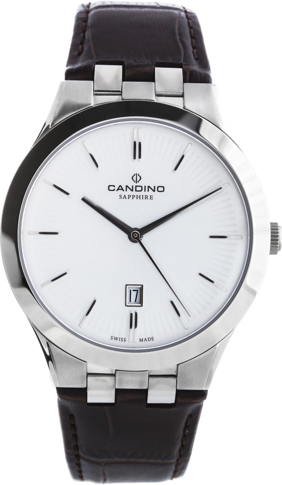 Candino Classic C4540/1Наручные часы<br>Швейцарские часы Candino Classic C4540/1<br><br>Пол: Мужские<br>Страна-производитель: Швейцария<br>Механизм: Кварцевый<br>Материал корпуса: Сталь<br>Материал ремня/браслета: Кожа<br>Водозащита, диапазон: 20 - 100 м<br>Стекло: Сапфировое<br>Толщина корпуса: None<br>Стиль: Классика