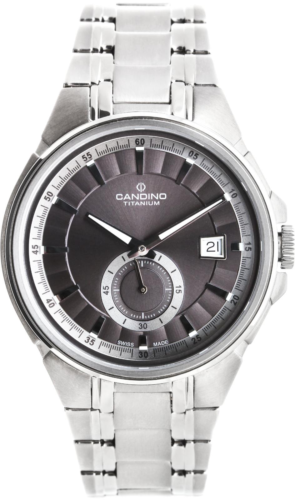 Candino Titanium C4604/1Наручные часы<br>Швейцарские часы Candino Titanium C4604/1<br><br>Пол: Мужские<br>Страна-производитель: Швейцария<br>Механизм: Кварцевый<br>Материал корпуса: Титан<br>Материал ремня/браслета: Титан<br>Водозащита, диапазон: None<br>Стекло: Сапфировое<br>Толщина корпуса: None<br>Стиль: None