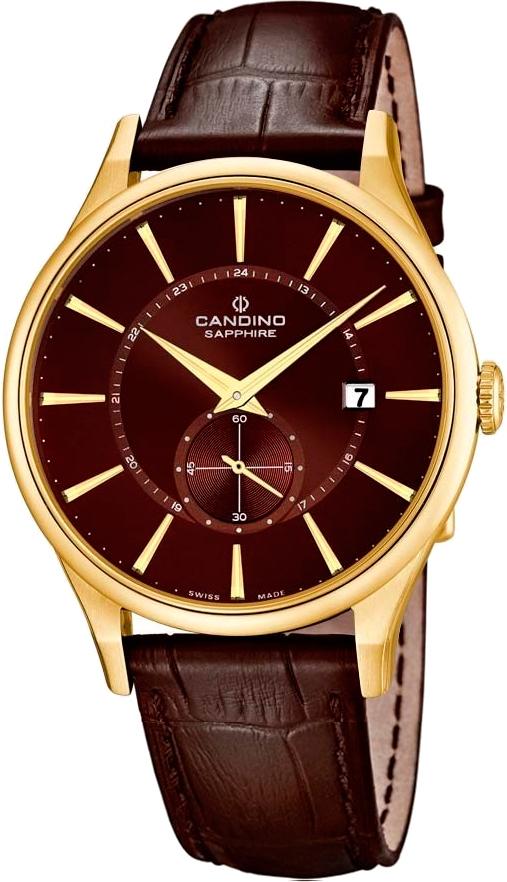 Candino Elegance C4559/3Наручные часы<br>Швейцарские часы Candino Elegance C4559/3<br><br>Для кого?: Мужские<br>Страна-производитель: Швейцария<br>Механизм: Кварцевый<br>Материал корпуса: Сталь<br>Материал ремня/браслета: Кожа<br>Водозащита, диапазон: 20 - 100 м<br>Стекло: Сапфировое<br>Толщина корпуса: None<br>Стиль: Классика