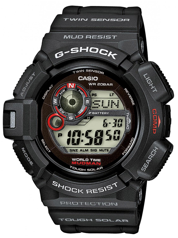 Casio G-shock Mudmaster G-9300-1EНаручные часы<br>Японские часы Casio G-shock Mudmaster G-9300-1E<br><br>Пол: Мужские<br>Страна-производитель: Япония<br>Механизм: Кварцевый<br>Материал корпуса: Пластик<br>Материал ремня/браслета: Пластик<br>Водозащита, диапазон: None<br>Стекло: Минеральное<br>Толщина корпуса: 18,2 мм<br>Стиль: None