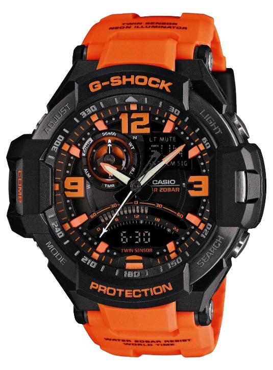Casio G-shock Gravitymaster GA-1000-4AНаручные часы<br><br><br>Пол: Мужские<br>Страна-производитель: Япония<br>Механизм: Кварцевый<br>Материал корпуса: Пластик<br>Материал ремня/браслета: Каучук<br>Водозащита, диапазон: None<br>Стекло: Минеральное<br>Толщина корпуса: 16,6 мм<br>Стиль: None