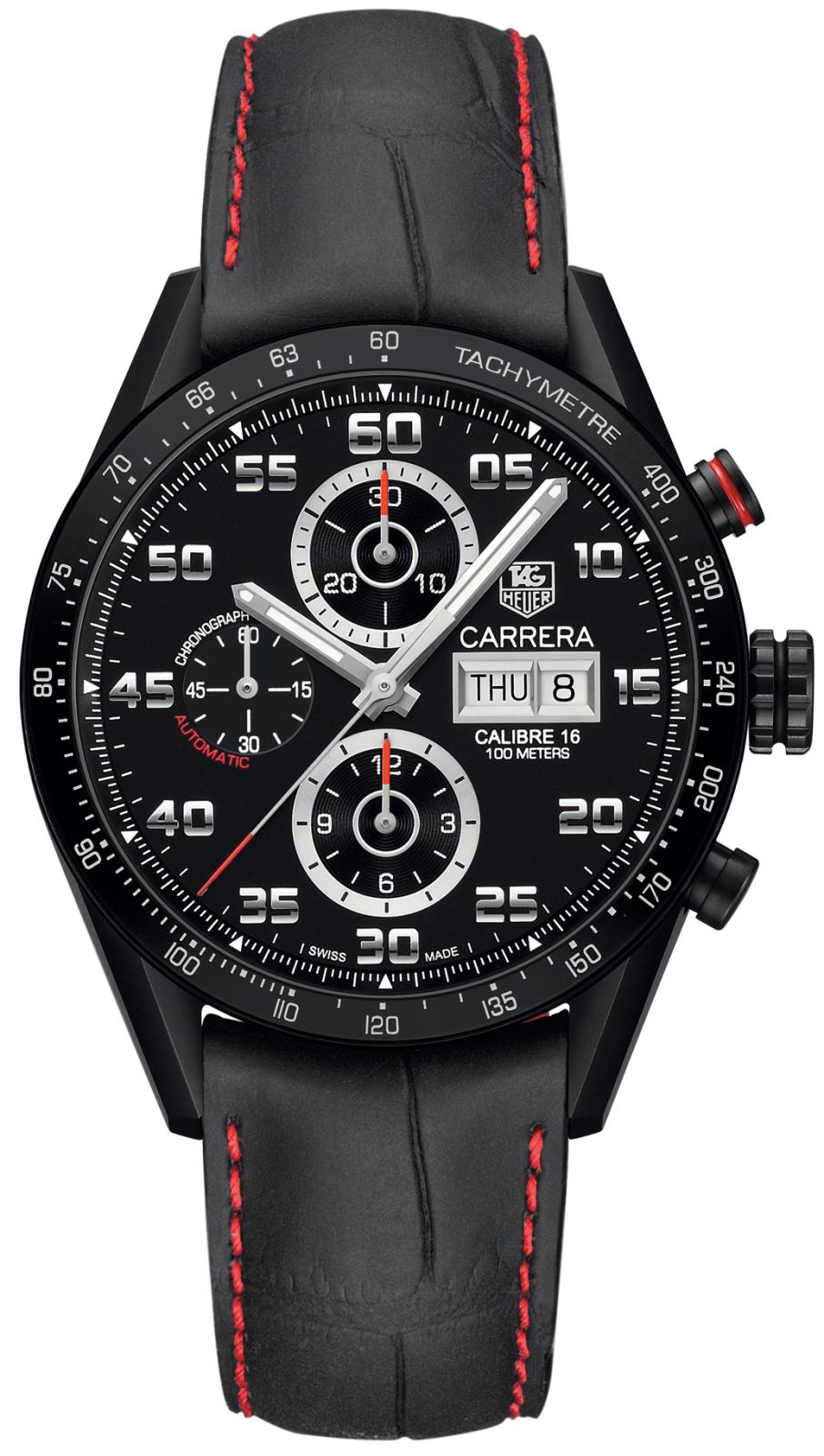 TAG Heuer CV2A81.FC6237Наручные часы<br>Швейцарские часы TAG Heuer Carrera Calibre 16 Day-Date CV2A81.FC6237Часы из коллекции Carrera. Это спортивный мужской механический хронограф, 12-часовой счетчик на 6 часов, 60-минутный счетчик на 12 часов, малая секунда на 9 часов, тахиметрическая шкала нанесённая по безелю, прозрачная задняя крышка. Механизм — TAG Heuer Calibre 16 Day Date, механический с системой автоматического подзавода, 28800 полуколебаний в час, 25 камней, запас хода до 42 часов. Материал корпуса часов — титановый корпус с черным титан-карбидным покрытием и пескоструйной обработкой, титановый безель с черным титан-карбидным покрытием, черным керамическим кольцом и серебристой тахиметрической шкалой. Покрытие часовых стрелок - люминисцентное покрытие Superluminova. В этих часах используется сапфировое стекло. Водозащита - 100 м. Диаметр корпуса модели 43 мм.<br><br>Для кого?: Мужские<br>Страна-производитель: Швейцария<br>Механизм: Механический<br>Материал корпуса: Титан<br>Материал ремня/браслета: Кожа<br>Водозащита, диапазон: 100 - 150 м<br>Стекло: Сапфировое<br>Толщина корпуса: None<br>Стиль: None