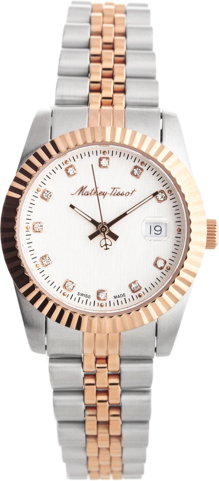 Mathey-Tissot Rolly D810RAНаручные часы<br>Швейцарские часы Mathey-Tissot Rolly D810RA<br><br>Пол: Женские<br>Страна-производитель: Швейцария<br>Механизм: Кварцевый<br>Материал корпуса: Сталь<br>Материал ремня/браслета: Сталь<br>Водозащита, диапазон: None<br>Стекло: Минеральное<br>Толщина корпуса: None<br>Стиль: None