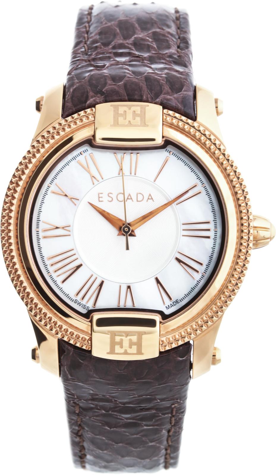 Escada Madelene E3330053Наручные часы<br>Швейцарские&amp;nbsp;часы Escada Madelene E3330053<br><br>Пол: Женские<br>Страна-производитель: Швейцария<br>Механизм: Кварцевый<br>Материал корпуса: Сталь<br>Материал ремня/браслета: Кожа<br>Водозащита, диапазон: 20 - 100 м<br>Стекло: Минеральное<br>Толщина корпуса: 8 мм<br>Стиль: Классика