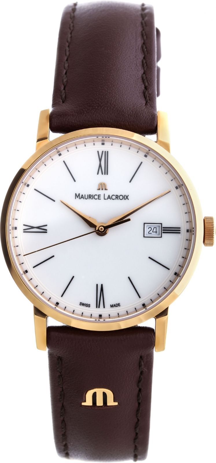 Maurice Lacroix Eliros Date EL1084-PVP01-112-2Наручные часы<br>Швейцарские часы Maurice Lacroix Eliros Date EL1084-PVP01-112-2<br><br>Пол: Женские<br>Страна-производитель: Швейцария<br>Механизм: Кварцевый<br>Материал корпуса: Сталь<br>Материал ремня/браслета: Кожа<br>Водозащита, диапазон: 20 - 100 м<br>Стекло: Сапфировое<br>Толщина корпуса: None<br>Стиль: Классика
