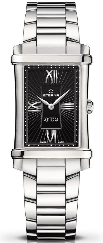 Eterna Contessa Two-Hands 2410.41.45.0264Наручные часы<br>Швейцарские часы Eterna Contessa Two-Hands 2410.41.45.0264Данная модель входит в коллекцию Contessa Two-Hands. Это настоящие женские часы. Материал корпуса часов — сталь. Стекло - сапфировое. Водозащита этой модели 50 м. Основной цвет циферблата черный. Размер данной модели 25х33мм. Блеск модели придаёт наличие бриллиантов.<br><br>Для кого?: Женские<br>Страна-производитель: Швейцария<br>Механизм: Кварцевый<br>Материал корпуса: Сталь<br>Материал ремня/браслета: Сталь<br>Водозащита, диапазон: 20 - 100 м<br>Стекло: Сапфировое<br>Толщина корпуса: None<br>Стиль: Классика