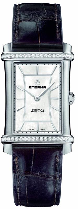 Eterna Contessa Two-Hands 2410.48.66.1199Наручные часы<br>Швейцарские часы Eterna Contessa Two-Hands 2410.48.66.1199Модель входит в коллекцию Contessa Two-Hands. Это стильные женские часы. Материал корпуса часов — сталь. Стекло - сапфировое. Часы этой модели обладают водозащитой 50 м. Цвет циферблата - белый. Часы обладают корпусом 25х33мм. Модель украшена бриллиантами.<br><br>Для кого?: Женские<br>Страна-производитель: Швейцария<br>Механизм: Кварцевый<br>Материал корпуса: Сталь<br>Материал ремня/браслета: Кожа<br>Водозащита, диапазон: 20 - 100 м<br>Стекло: Сапфировое<br>Толщина корпуса: None<br>Стиль: Классика