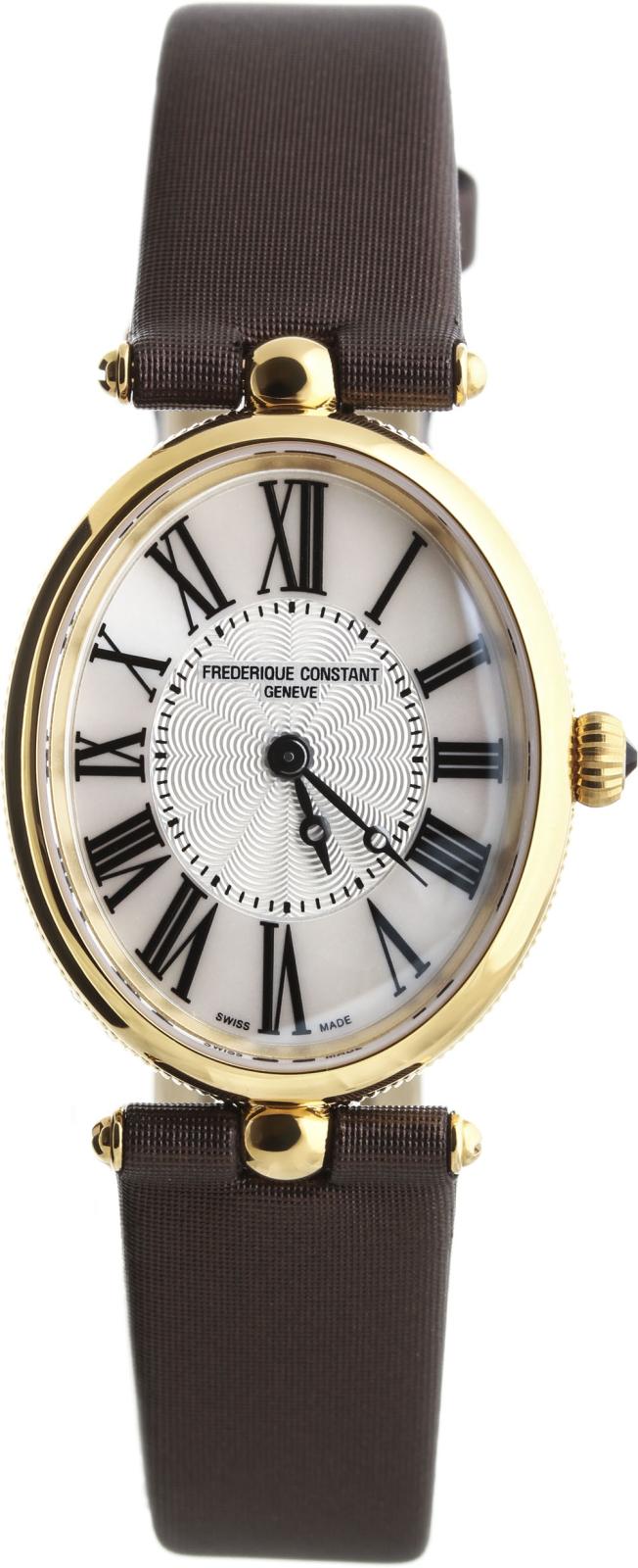 Frederique Constant Classics Art Deco  FC-200MPW2V5Наручные часы<br>Швейцарские часы Frederique Constant Classics Art Deco FC-200MPW2V5Модель входит в коллекцию Classics Art Deco . Это великолепные женские часы. Материал корпуса часов &amp;mdash; сталь+золото. Стекло - сапфировое. Часы выдерживают давление на глубине 30 м. Основной цвет циферблата серебристый. Из основных функций на циферблате представлены: часы, минуты. Часы обладают корпусом 25х30мм.<br><br>Пол: Женские<br>Страна-производитель: Швейцария<br>Механизм: Кварцевый<br>Материал корпуса: Сталь+Золото<br>Материал ремня/браслета: Сатин<br>Водозащита, диапазон: 20 - 100 м<br>Стекло: Сапфировое<br>Толщина корпуса: None<br>Стиль: Классика