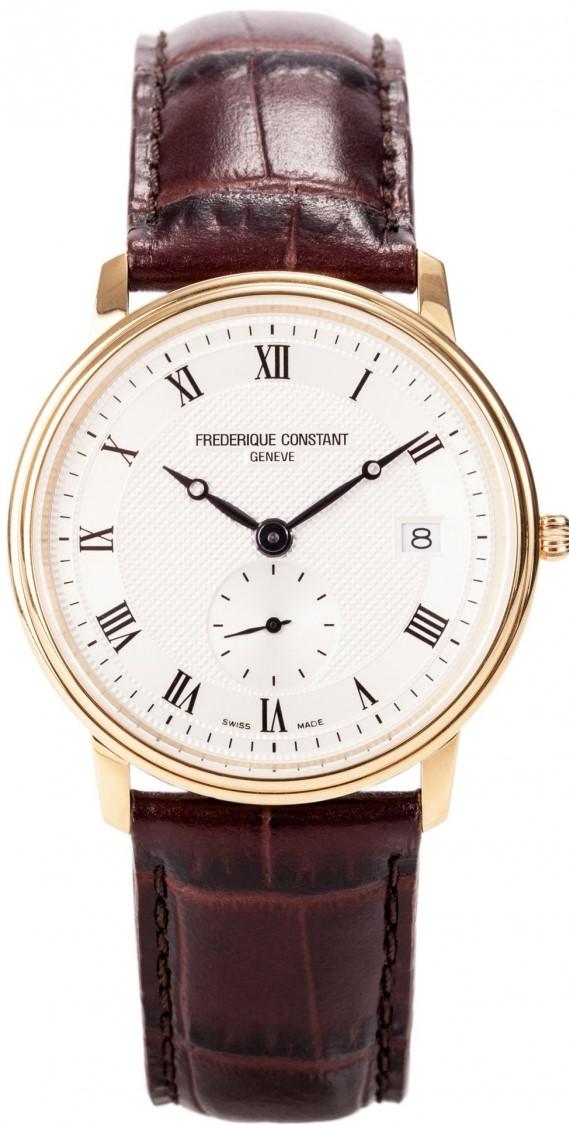 Frederique Constant Slim Line FC-245M4S5Наручные часы<br>Швейцарские часы Frederique Constant Slim Line FC-245M4S5Данная модель входит в коллекцию Slim Line. Это настоящие мужские часы. Материал корпуса часов &amp;mdash; сталь+золото. Стекло - сапфировое. Водозащита - 30 м. Основной цвет циферблата серый. Из основных функций на циферблате представлены: часы, минуты, секунды. Размер данной модели 37мм.<br><br>Пол: Мужские<br>Страна-производитель: Швейцария<br>Механизм: Кварцевый<br>Материал корпуса: Сталь<br>Материал ремня/браслета: Кожа<br>Водозащита, диапазон: 20 - 100 м<br>Стекло: Сапфировое<br>Толщина корпуса: 5 мм<br>Стиль: Классика