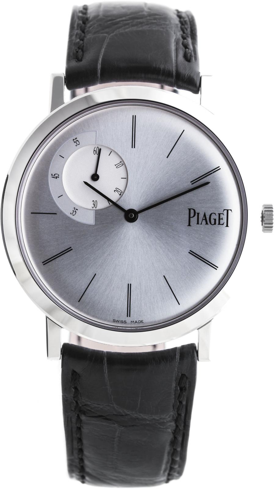 Piaget Altiplano G0A33112Наручные часы<br>Швейцарские часы Piaget Altiplano G0A33112Модель входит в коллекцию Altiplano. Это модные мужские часы. Материал корпуса часов — золото. Циферблат часов защищает сапфировое стекло. Водозащита этой модели 30 м. Основной цвет циферблата белый. Диаметр корпуса данной модели 40мм.<br><br>Пол: Мужские<br>Страна-производитель: Швейцария<br>Механизм: Механический<br>Материал корпуса: Золото<br>Материал ремня/браслета: Кожа<br>Водозащита, диапазон: 20 - 100 м<br>Стекло: Сапфировое<br>Толщина корпуса: None<br>Стиль: Классика