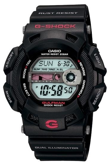 Casio G-shock Gulfmaster G-9100-1EНаручные часы<br>Японские часы Casio G-shock Gulfmaster G-9100-1E<br><br>Пол: Мужские<br>Страна-производитель: Япония<br>Механизм: Кварцевый<br>Материал корпуса: Пластик<br>Материал ремня/браслета: Пластик<br>Водозащита, диапазон: None<br>Стекло: Минеральное<br>Толщина корпуса: 16,4 мм<br>Стиль: None