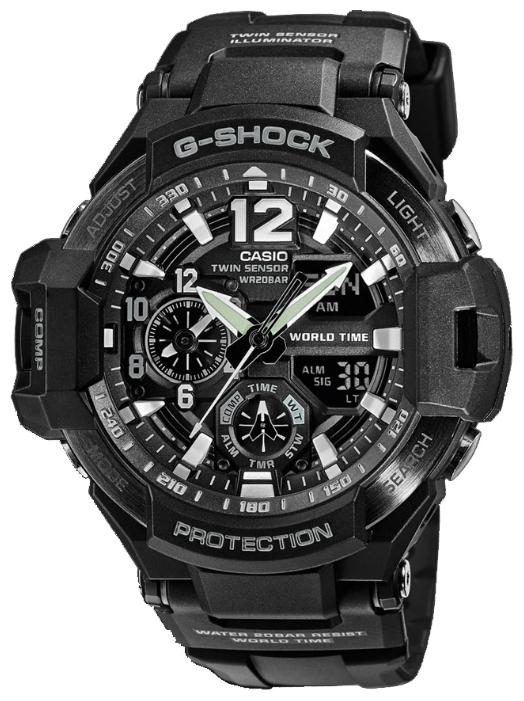 Casio GA-1100-1AНаручные часы<br>Японские часы Casio G-ShockGA-1100-1A<br><br>Для кого?: Мужские<br>Страна-производитель: Япония<br>Механизм: Кварцевый<br>Материал корпуса: Пластик<br>Материал ремня/браслета: Каучук<br>Водозащита, диапазон: 200 - 800 м<br>Стекло: Минеральное<br>Толщина корпуса/: <br>Стиль: Спорт