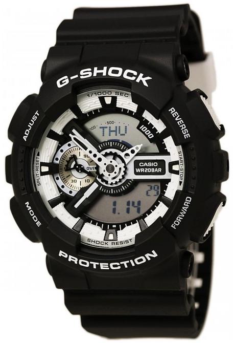 Casio G-shock GA-110BW-1AНаручные часы<br>Японские часы Casio G-shock GA-110BW-1A<br><br>Пол: Мужские<br>Страна-производитель: Япония<br>Механизм: Кварцевый<br>Материал корпуса: Пластик<br>Материал ремня/браслета: Каучук<br>Водозащита, диапазон: None<br>Стекло: Минеральное<br>Толщина корпуса: 16,9 мм<br>Стиль: None