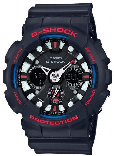 Casio G-shock G-Specials GA-120TR-1AНаручные часы<br>Японские часы Casio G-shock G-Specials GA-120TR-1A<br><br>Пол: Мужские<br>Страна-производитель: Япония<br>Механизм: Кварцевый<br>Материал корпуса: Пластик<br>Материал ремня/браслета: Каучук<br>Водозащита, диапазон: None<br>Стекло: Минеральное<br>Толщина корпуса: 16,9 мм<br>Стиль: None
