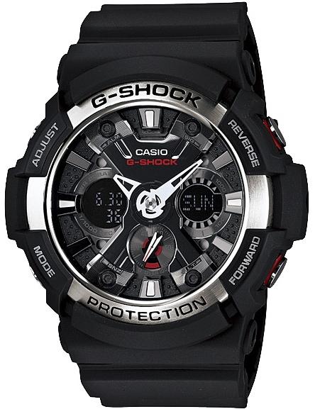 Casio G-shock GA-200-1AНаручные часы<br>Японские часы Casio G-shock GA-200-1A<br><br>Пол: Мужские<br>Страна-производитель: Япония<br>Механизм: Кварцевый<br>Материал корпуса: Пластик<br>Материал ремня/браслета: Каучук<br>Водозащита, диапазон: None<br>Стекло: Минеральное<br>Толщина корпуса: 16,7 мм<br>Стиль: None