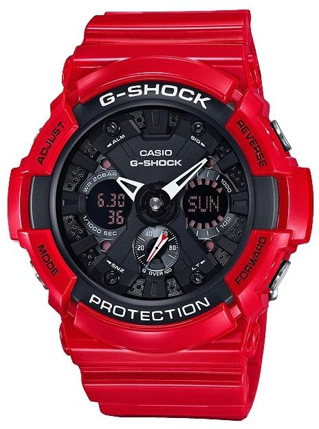 Casio G-shock GA-201RD-4AНаручные часы<br>Японские часы Casio G-shock GA-201RD-4A<br><br>Пол: Мужские<br>Страна-производитель: Япония<br>Механизм: Кварцевый<br>Материал корпуса: Пластик<br>Материал ремня/браслета: Каучук<br>Водозащита, диапазон: None<br>Стекло: Минеральное<br>Толщина корпуса: 16,7 мм<br>Стиль: None
