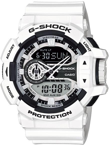 Casio G-shock G-Classic GA-400-7AНаручные часы<br>Японские часы Casio G-shock G-Classic GA-400-7A<br><br>Пол: Мужские<br>Страна-производитель: Япония<br>Механизм: Кварцевый<br>Материал корпуса: Пластик<br>Материал ремня/браслета: Каучук<br>Водозащита, диапазон: 200 - 800 м<br>Стекло: Минеральное<br>Толщина корпуса: None<br>Стиль: Спорт