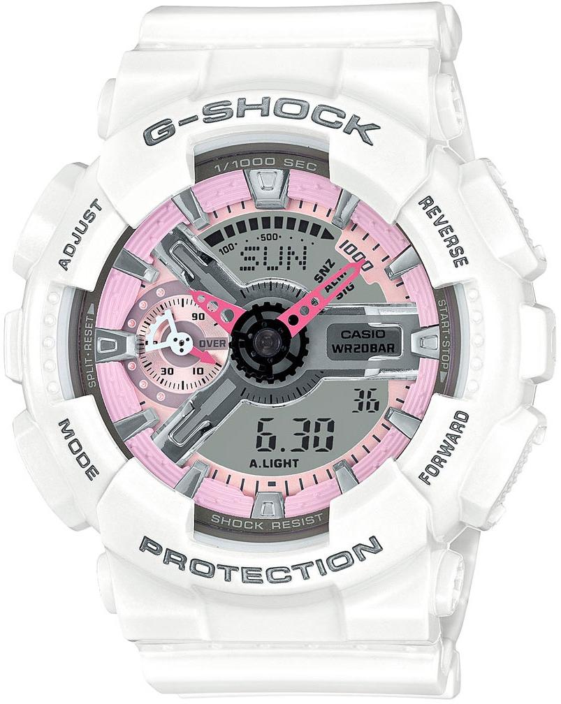 Casio G-shock S Series GMA-S110MP-7AНаручные часы<br>Японские часы Casio G-shock S Series GMA-S110MP-7A<br><br>Пол: Женские<br>Страна-производитель: Япония<br>Механизм: Кварцевый<br>Материал корпуса: Пластик<br>Материал ремня/браслета: Каучук<br>Водозащита, диапазон: None<br>Стекло: Минеральное<br>Толщина корпуса: 15,8 мм<br>Стиль: None
